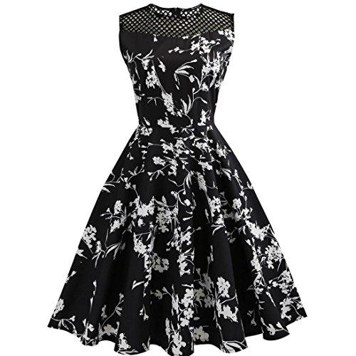 Kleider damen Kolylong® Frauen Elegant Blumenmuster Ärmelloses Kleid Vintage Rockabilly Kleid Swing Kleid Knielang Festlich Kleider Cocktailkleid Party Kleid Abendkleid (Schwarz, S) (Kalb-kleid-boot)