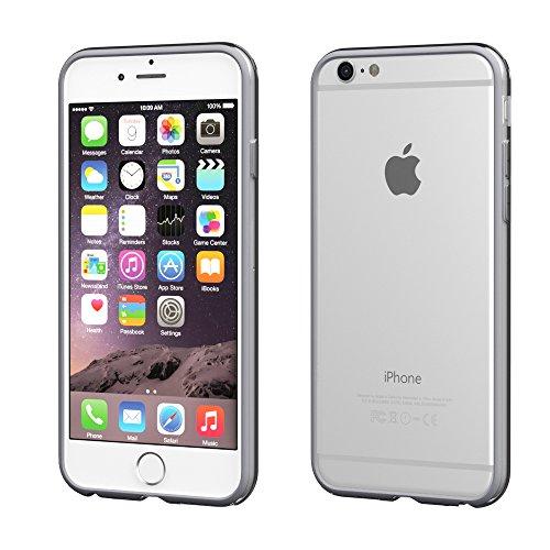 Apple iPhone 4S / 4 Hülle, EAZY CASE Bumper - Premium Handyhülle aus Silikon - Flexible Schutzhülle als Cover in Schwarz Hellgrau