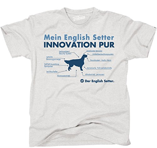 Siviwonder Unisex T-Shirt INNOVATION ENGLISH SETTER TEILE LISTE Hunde lustig fun Ash