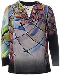 486035122fa7 Sempre piu Damen Langarmshirt Shirt Lange Ärmel Kurzgröße Bunt mit  Wasserfallausschnitt