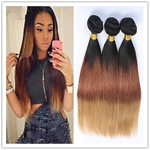 XQXHair 3pcs / lot ombre extensiones de cabello brasileños T1b / 4/27 ombre vírgenes paquetes armadura del pelo humano ombre trama del pelo , 16 18 20
