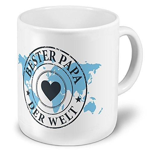 printplanet XXL Riesen-Tasse Papa der Welt - Motiv Weltkarte - Namens-Tasse, Kaffeebecher, Becher, Mug