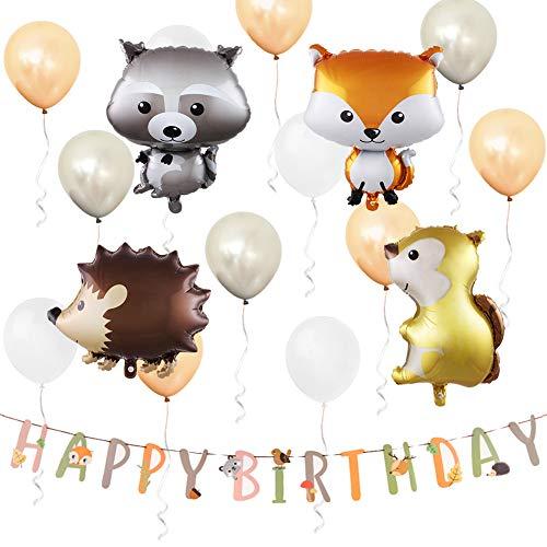 ETLEE Waldtier Ballons - 25 Zoll Woodland Tier Ballons & Alles Gute zum Geburtstag Banner & Latex Luftballons für Dschungel Thema Party Dekoration