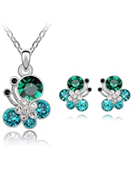 MARENJA Cristal-Conjunto de Collar y Pendientes Mariposa Chapado en Oro Blanco Cristal Azul Verde