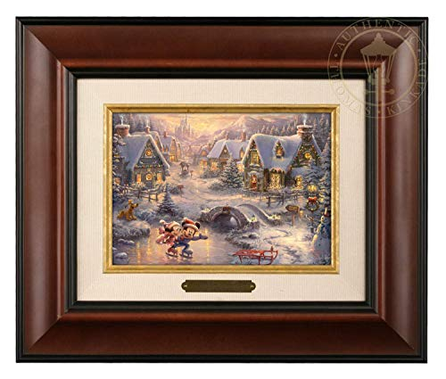 Thomas Kinkade Studios Mickey und Minnie Sweetheart Holiday Pinsel, 12,7 x 17,8 cm Traditionell 12Lx10Hx1.25W braun -