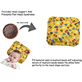 GURU KRIPA BABY PRODUCTS ® Presents New Born Baby Cotton Soft Fabric Musterd Seeds Rai Pillow For Baby Head Shaping Takiya Detachable Mustard / Rai Seed Pouch For Easy Washing Feeding & Nursing Baby Neck Pillow (Yellow)
