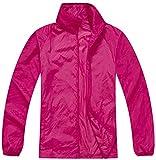 Mochoose Femme Légère Packable Veste de Sport à Capuche Protection UV Coupe Vent Imperméable à Séchage Rapide(Rose Rouge,M)