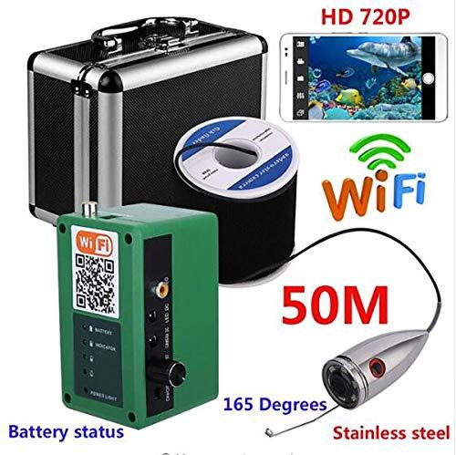 QT 720P WiFi Wireless Pesca Subacquea videocamera in Acciaio Inox 30M per  iOS Android App Supporta Video Record DVR,50M
