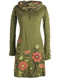 Vishes - Alternative Bekleidung - Langärmliges Blumenkleid aus Baumwolle mit Kapuzenschalkragen