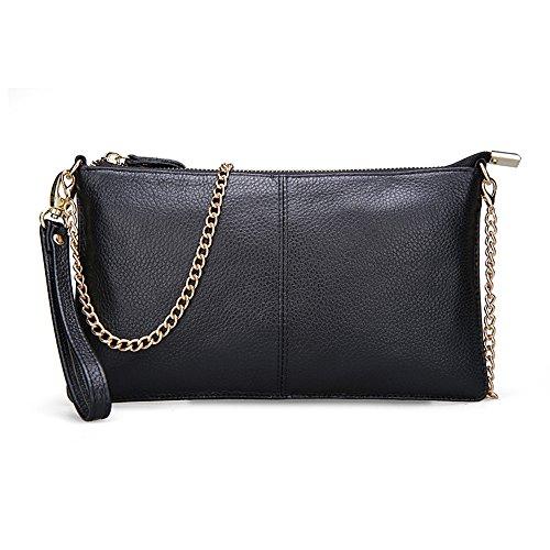 Echtes Leder Kleine Handtasche mit goldener Kette und Handschlaufe für Frauen-Damen-schwarze rote Geldbeutel-Minischulter-Beutel-Kreuz-Körper-Beutel (Leder-geldbörse Mit Kreuz)