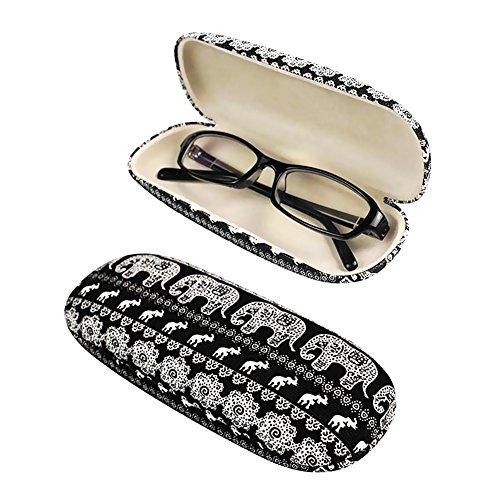 EQLEF® Schwarzen Hart Brillenetui Brillenbox Mit Netter Elefant Printing für Brillen Organisieren
