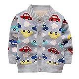 ESHOO Baby Boys Girls Car Print Cardigan Fleece Warm Knitwear