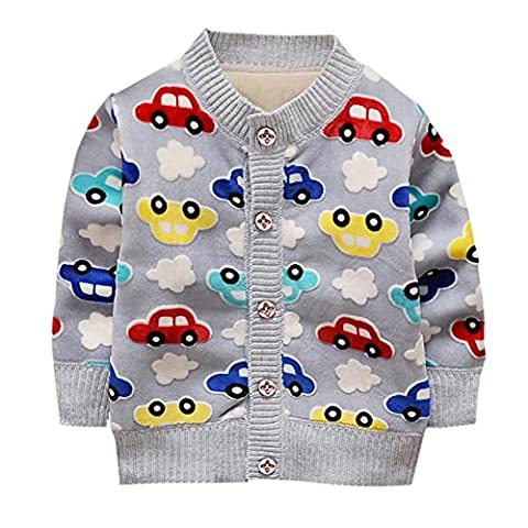 Baby Unisex Cardigan Long Sleeve Knitwear Cartoon Thick Warmer Coat Jacket for 9-36 Months Boys Girls By