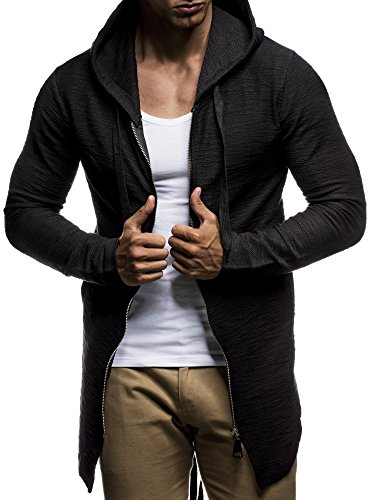 LEIF NELSON Herren Pullover Kapuzenpullover Hoodie Sweatjacke Jacke Basic Langarm oversize Shirt Sweater LN6301 Schwarz