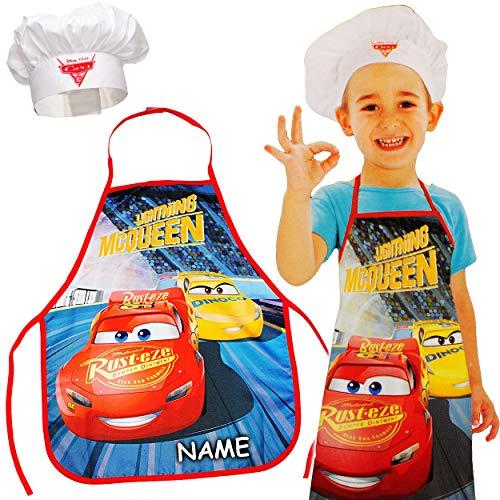 Unbekannt Kinderschürze + Kochmütze - Disney Cars - 3 bis 8 Jahre - inkl. Name - Größenverstellbar - fleckabweisend - Schürze / Jungen - beschichtet - Kochschürze / Gri..