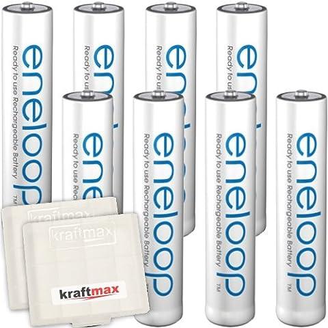 8 Pack Panasonic Kraftmax Eneloop AAA/batterie Micro - di ultima generazione - batterie ad alta batteria in contenitori di batteria Kraftmax V5, 8 Pack