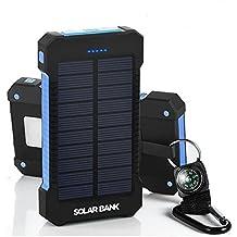 Cargador de batería portátil con paneles solares para copia de seguridad con cargador solar - Rápido eficiente 10000mAh Cargador solar de teléfono Múltiples dispositivos USB compatibles - 2 puertos USB para una fácil carga doble de dispositivo