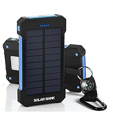 Solar Phone Charger Portable-Solar Power External Battery Pack-Mobile Phone Back Up-Solar Bank With Waterproof Solar Panels-Fast 10,000mAh For Emergency Phone Charger–2 USB Ports-Bright LED Flashlight