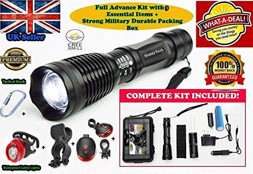 SeddyTech Taktische LED-Taschenlampe, sehr hell, wasserdicht, 2000 Lumen, Zoomfunktion, 5 Lichtmodi, mit Batterie, Ladegerät, Kfz-Ladegerät, Halfter, Fahrradhalterung und Rücklicht mit Halterung - geeignet für Radfahren, Camping, Notfall, Patrouillen und mehr Cap Guns St
