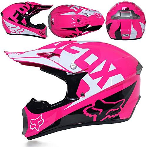 CFYBAO Moto Fuera de Carretera Casco Regalo Gafas máscara Guantes Fox Motocross Racing Casco Completo de la Cara para el Hombre y la Mujer,H,M