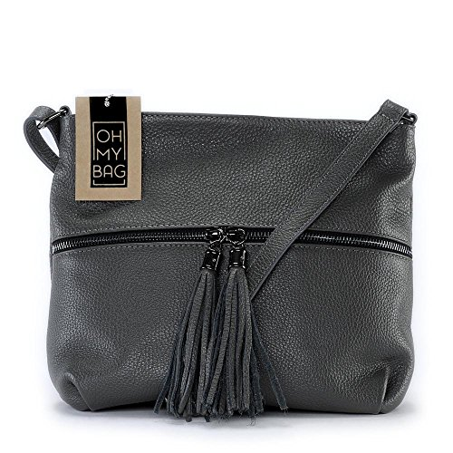 OH MY BAG London, Borsa a tracolla donna compact grigio scuro