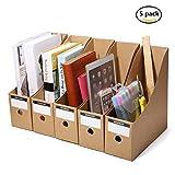 Caveen Stehsammler recyceltem Karton Zeitschriftenbox 5er Packung,Datei Organizer Kraftpapier Aktenhalter Bürobedarf Zeitschriftenhalter Schreibtisch Speicherorganisator