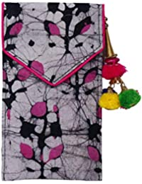 Batic Prints Hand Mobile Cover With Back Zip Pocket And Latkan For Women-Pink Print