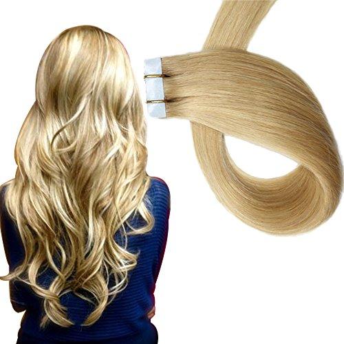 Extensions adesive lisce - con capelli veri 20 ciocche larghezza 4 cm lunghezza 40 45 50 55 60 cm (55cm, no.24 bionda media)