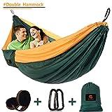 CHANTPOWER Doppel-Camping-Hängematte für Draußen, Ultraleichte Tragbare Nylon Fallschirm-Hängematten für Backpacking, Wandern, Reisen, Strand, Hof (Green)