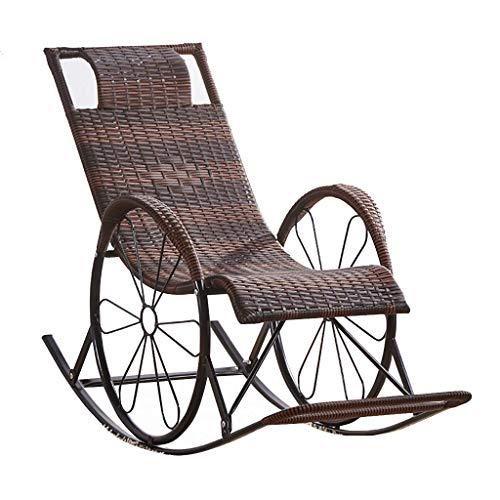 GartenstüHle, Rattan Sessel Wicker Schaukelsofa Relaxing Lounge Chair Metallrahmen Mit Lumbalen Kissen & Kissen, Gartenterrasse Veranda Lawn Deck GartenmöBel -