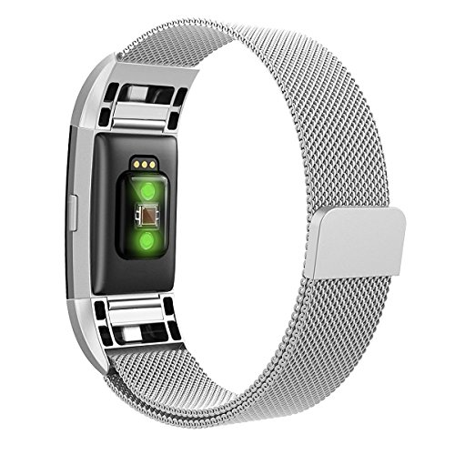 Hanlesi Fitbit Charge 2 Armband, Edelstahl Armbanduhren Watch Band Fitness für Fitbit Charge 2 (Klein, silber)