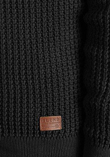 BLEND Waldo Herren Strickjacke Cardigan Waffelstrick mit V-Ausschnitt und Knopfleiste aus 100% Baumwolle Charcoal (70818)