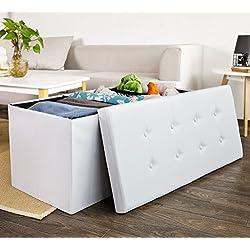 SoBuy® XXL 110x48x48cm,Sitzkasten,Sitzbank,Sitztruhe,Sitzbox,Ottomane, FSS27-EL-W (Weiß-110cm)