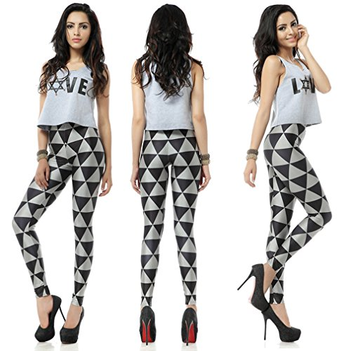 THENICE Women's Digital Print engen Leggings - Black Triangle