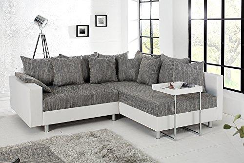 Design Ecksofa mit Hocker LOFT weiss Strukturstoff grau Federkern Sofa OT beidseitig aufbaubar - 6