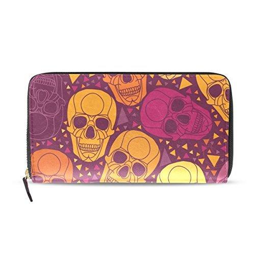 Franzibla Sugar Skull Dia De Los Muertos Women's Clutch Leather long Wallet Card Holder Purse Bag