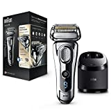 Braun Series 9 9296cc Men's Electric Foil Shaver, Wet and Dry, Pop Up Precision Trimmer, Rechargeable and Cordless Razor with Clean and Charge Station and Leather Travel Case - Chrome (2 Pin Plug)