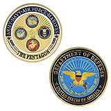 zijianZZJ Gedenkmünze, Rare Gold Plated Army Navy Air Force Marines Gedenkmünzsammlung Physikalisch