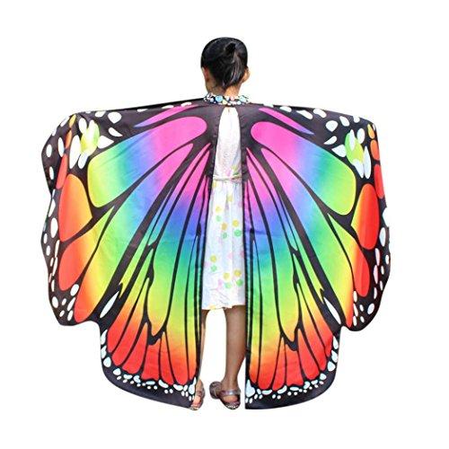 schmetterling kostüm, HLHN Kinder Schmetterling Flügel Schal Schals Nymphe Pixie Poncho Kostüm Zubehör für Show / Daily / Party (Bunt_Kinder,136x108 cm)