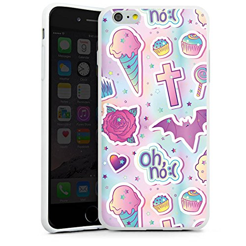Apple iPhone 7 Plus Silikon Hülle Case Schutzhülle Halloween Muster Girly Silikon Case weiß