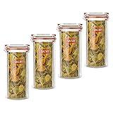 TATAY Lote de 4 Botes de Cocina Herméticos en Plástico de Alta Calidad con Cierre de Seguridad, Capacidad 1.5L, Medidas 9 x 15.5 x 18 cm