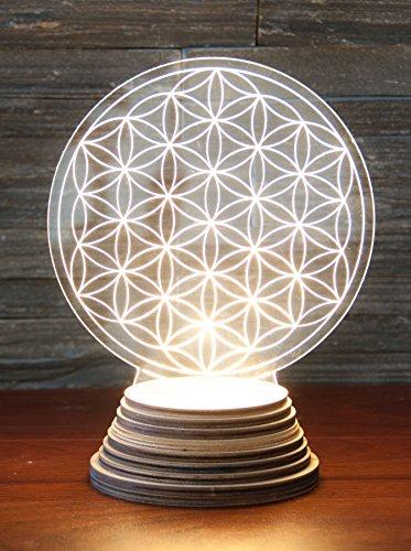 Lampe d'ambiance Blume des Lebens en acrylique, avec socle en bois