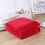 UnvfRg Bedsure Flanell-Überwurf, weich, gemütlich, Mikrofaser, solide Decke, Polyester, rot, 200x230cm