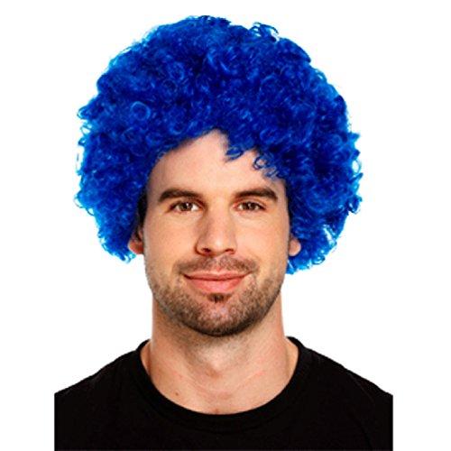 Neuheit Short Afro-volle Spitze Curly Clown Party Perücken Fußball-Fans Halloween Kostüme Curl-up-Fälschungs-Haar-Perücke Wild-Blau
