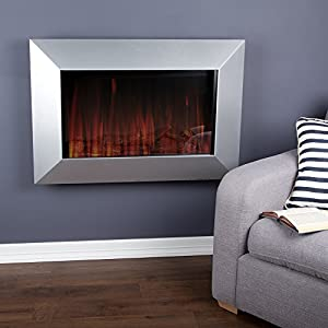 Wall Mounted Electric Fire with Optiflame Effect ? 420 Watt ? Silver Satin Effect