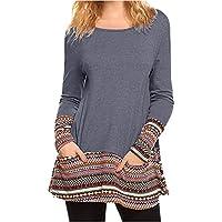 Damen Tops, Geili Damenmode Langarm Tasche Printed Patchwork Bluse Tops Kleidung T Shirt Damen Blusen preisvergleich bei billige-tabletten.eu