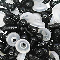 TOAOB 50Pcs Plastic Safety Eyes 6Mm With Washers For Doll Making Stuffed Animals Puppets
