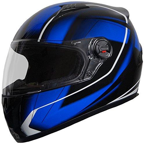 Integralhelm Helm Motorradhelm RALLOX 708 blau/schwarz (S, M, L, XL) Größe M