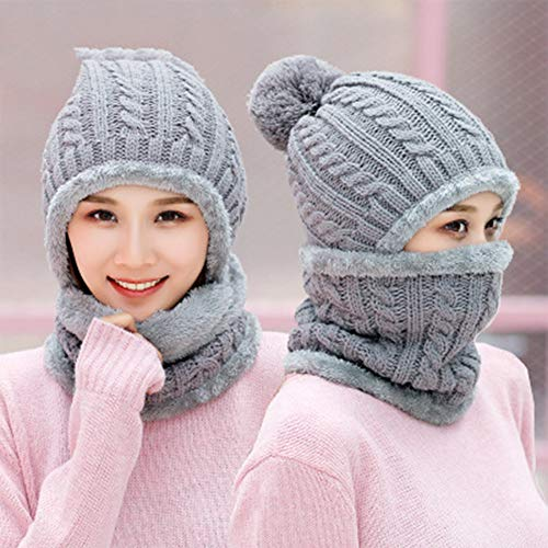 Womens Pom Beanie Hat Scarf Set Girls Cute Winter Ski Hat Slouchy Knit Skull Cap Mit Fleece Lined,Gray