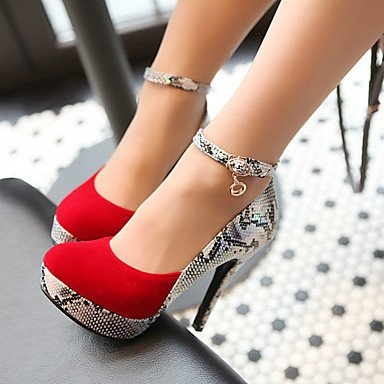 Zormey Frauen Heels Frühling Herbst Formelle Schuhe Kunstleder Outdoor Büro & Amp; Karriere Dress Casual Stiletto Heel Imitation Pearl Rot Schwarz US8 / EU39 / UK6 / CN39